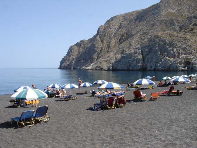 kamari paralia - Греция Санторини Пляж Камари